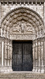 Church Entrance Portal and Doors Gothic Cathedral Stock Image