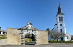 Church and entrance to the Lay Abbay, Aramits Royalty Free Stock Photos