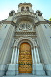 Church entrance with wooden door Royalty Free Stock Photo