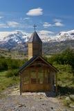 Church of Estancia Cristina in Los Glaciares National Park. Church of the estancia cristina on the Lake Argentino, near the upsala glacier, in los glaciares Stock Photo