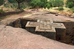 Church in Ethiopia. An orthodox church in the city of Lalibela, in Ethiopia Royalty Free Stock Image