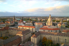 Church in evening light. Skyline of Dresden in the Evening. On the right side the Frauenkirche. In Background you can see the Elbe Stock Photos