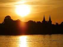 Church evening waterfront river side Mekong River. At Naklorn Phanom in Thailand Royalty Free Stock Photography