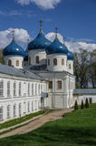 Church of Exaltation of the Cross in Russian orthodox Yuriev Mon. Astery in Veliky Novgorod in spring sunny day Stock Photography