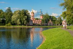 Church of the Exaltation of the Holy Cross. MOSCOW, RUSSIA - 23 JULY, 2017: Altufyevo Manor and Church of the Exaltation of the Holy Cross. Altufevsky Pond in a Royalty Free Stock Photos