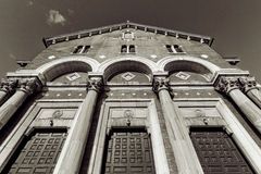 Church facade with arcs and columns Stock Photography