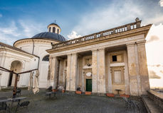 Church facade Ariccia. Bernini`s Church facade with cloudy sky at Ariccia, Italy royalty free stock photos