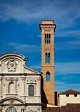 Church facade and bell-tower Royalty Free Stock Images