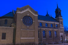 Church Facade at Night in Saint Paul Stock Image