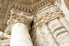 Church facede, ornaments and sculptures of Gothic style, Spanish Royalty Free Stock Images