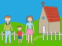 Church Family. Cartoon family of three with church in background Stock Photo