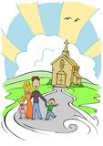 Church Family. Cartoon family of four with church in background Stock Photography