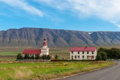 Church and Farm of Grund in Eyjafjordur Iceland Royalty Free Stock Images