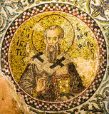 The church father Ignatius of Antioch with the Trump finger sign. The church father Ignatius of Antioch making the Trump finger sign, Pammakaristos church stock photography