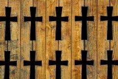 Church fence with cross shape holes Stock Photo