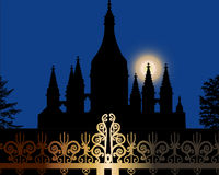 Church and fence at night Royalty Free Stock Photos