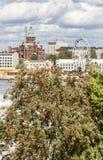 Church and a ferris wheel in Helsinki, Finland Stock Photos