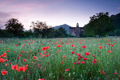 Church and a field of poppies Royalty Free Stock Image