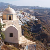 Church in Fira town. In Santorini island, Greece Royalty Free Stock Photos