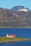 Church in fjord on Lofoten islands in Norway Royalty Free Stock Images