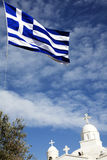 Church and flag of Greece Stock Image