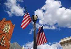 Church and flags. Stock Photography