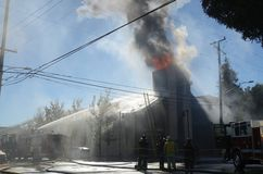 Church In Flames. Zion church burns in the city of Oakland Royalty Free Stock Image