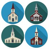 Church Flat Set. Church building flat round long shadow icons set isolated vector illustration Stock Images