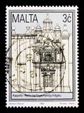 Church of the Flight into Egypt, Rehabilitation of Historical Buildings 1992 serie, circa 1992. MOSCOW, RUSSIA - OCTOBER 3, 2017: A stamp printed in Malta shows Stock Image