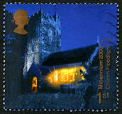 Church Floodlighting UK Postage Stamp Royalty Free Stock Images