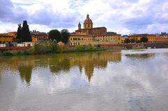 Amazing landscape with Arno river in Florence city , Italy Royalty Free Stock Photos