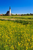 Church and flower field on a sunny day Royalty Free Stock Photography