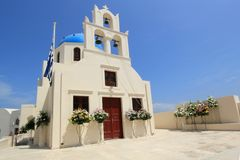 Church with flowers for funeral, Greece Royalty Free Stock Photos