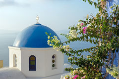 Church with flowers in Oia Stock Photography