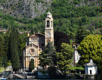Church on the foreshore of Lake Como Royalty Free Stock Photos
