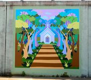 Church In A Forest Mural On James Road in Memphis, Tennessee. Royalty Free Stock Images