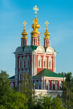 Church in forest in sunshine close up. Classic Orthodox church in the forest in sunshine closer Royalty Free Stock Photos