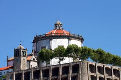 Church fortification with big dome. Under a clean blue sky royalty free stock photo
