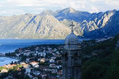 Church in the fortress and the Bay of Kotor. Morning Stock Photography