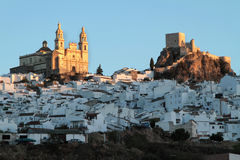 Church and fortress of Olvera at dawn Stock Images