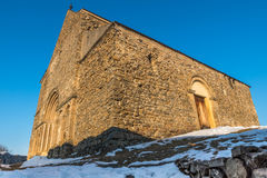 Church Fortress. Winter landscape of a Transylvanian church in a fortress in Sibiu County royalty free stock photography