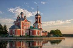 Church of Forty Martyrs, Pereslavl-Zalessky. Church of the Forty Sebastian Martyrs on shore of Lake Pleshcheyevo at sunset, Pereslavl-Zalessky, Russia stock photo