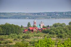 Church of Forty Martyrs and Pleshcheyevo Lake, Pereslavl-Zalessky. Aerial view of Church of the Forty Sebastian Martyrs on shore of Lake Pleshcheyevo, Pereslavl royalty free stock images