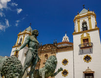 Church and fountain Ronda, Spain. The church and fountain at the placa major Ronda Spain Royalty Free Stock Photography