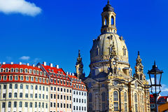 Church Frauenkirche in Dresden. Germany on a sunny day Stock Images