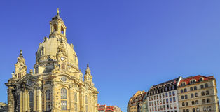 Church Frauenkirche in Dresden with resident buildings Stock Photo