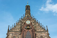 The church `Frauenkirche` at the main market in the old town of Nuremberg, Germany stock images
