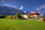Church and fresh mountain Stock Image
