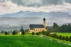 Church in Austria. Church in Front of Alps, Austria stock images