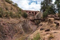 The Church of Gabriel-Rufael - Bete Gabriel-Rufael - in Lalibela, Ethiopia stock image